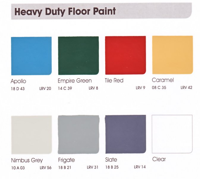 Leyland trade heavy duty floor paint designer paint store for Lrv paint color chart
