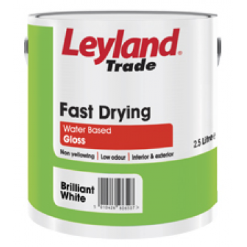 Leyland Trade Fast Drying Water Based Gloss Brilliant White Designer Pain